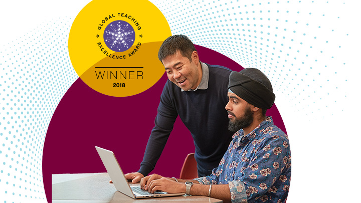 teacher and student working on laptop, displaying teaching excellence award 2018 winner logo